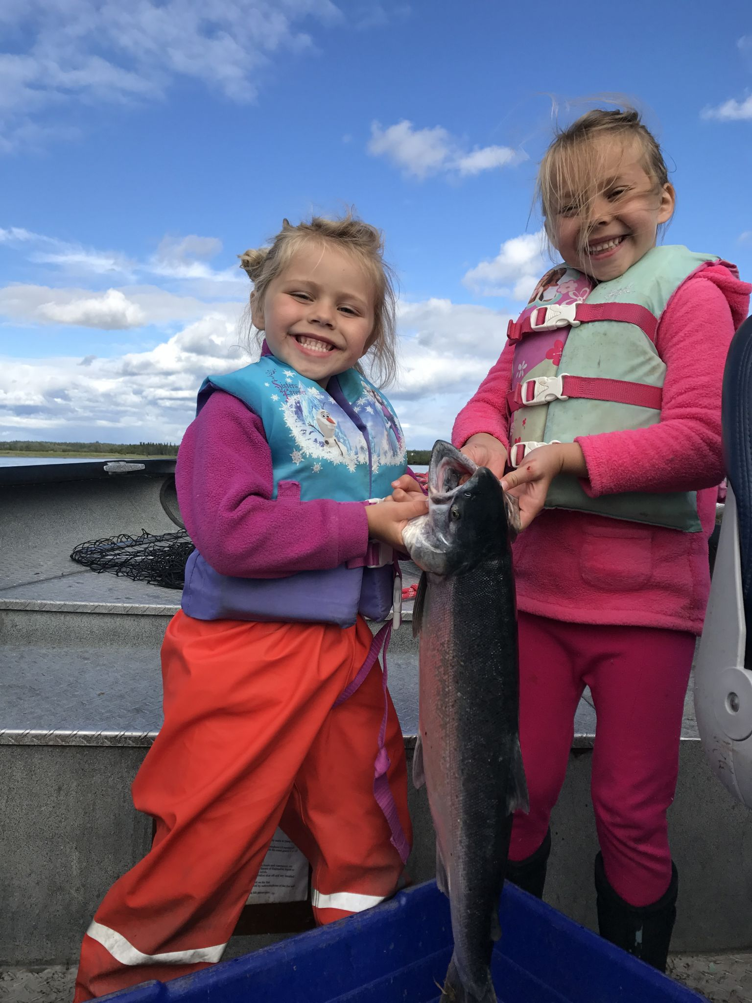 Avery & Zoey with a Silver Salmon